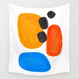 Abstract Mid Century Modern Colorful Minimal Pop Art Yellow Orange Blue Bubbles Ovals Wall Tapestry