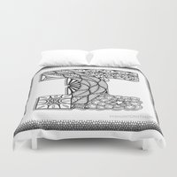 iggy Duvet Covers featuring Zentangle I Monogram Alphabet Illustration by Vermont Greetings