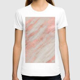 Marble Rose Gold White Marble Foil Shimmer T-shirt