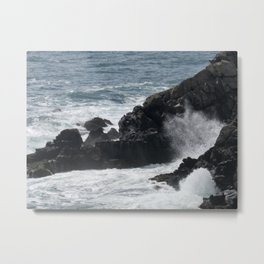 Waves Crashing on the Coast Metal Print