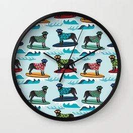 Black Labrador surfing dog breed pattern Wall Clock