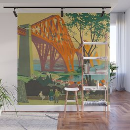 Mid Century Colorful Travel Posters Forth Bridge British Railways Wall Mural