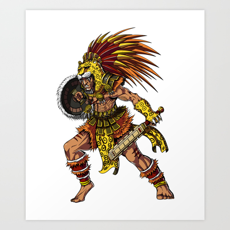 Aztec Jaguar Warrior Indian Native Mexican Art Print By Teecave Society6
