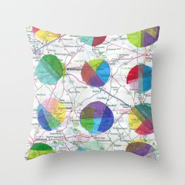 Dots on a Map Throw Pillow