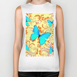 DECORATIVE BLUE BUTTERFLIES YELLOW FLORAL PATTERN Biker Tank