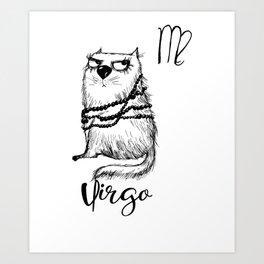 Funny Virgo Cat Zodiac September Shirt Birthday Gift Art Print