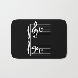 Bass And Treble Clef  Background Bath Mat