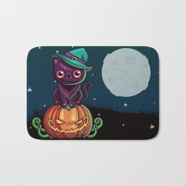 Ferociously Cute Halloween Vampire Witch Kitty Cat Bath Mat