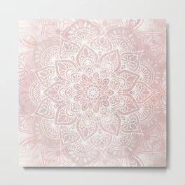 Mandala Yoga Love, Blush Pink Floral Metal Print