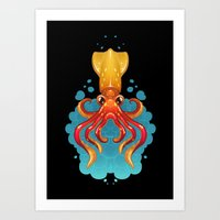 Neon Squid on Black Art Print