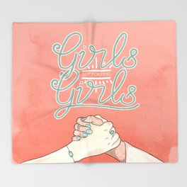 Girls Supporting Girls Intersectional Feminism Throw Blanket