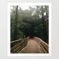 hiking Art Prints featuring Hiking by Lynette