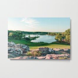 Dawn sunlight at a Beautiful lake. 'Balneario Iporá, Uruguay' Metal Print
