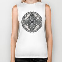 lace Biker Tanks featuring Charcoal Lace Pencil Doodle by micklyn
