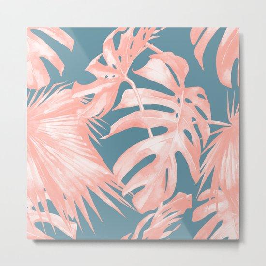 Island Love Millennial Pink on Teal Blue Metal Print