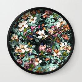 Dogwood and Magnolia II (Teal) Pattern Wall Clock