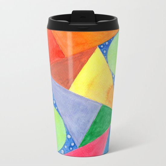 Lime Green Circles within a Cool Triangles Pattern Metal Travel Mug