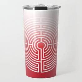 White Red Maze Travel Mug