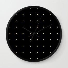 """Black Cream Polka Dots"" Wall Clock"