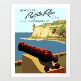 Vintage Discover Puerto Rico WPA Travel Art Print