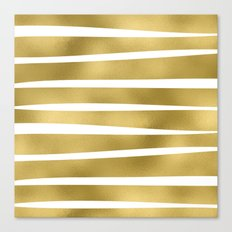 Gold unequal glitter stripes on clear white - horizontal pattern Canvas Print