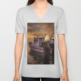 Fishing Boat and Gulls at Sunrise in Aransas Pass Harbor Unisex V-Neck