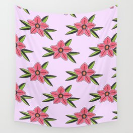 Old school tattoo flower pattern in lilac Wall Tapestry