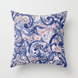 Vinage Lace Watercolor Blue Blush Throw Pillow