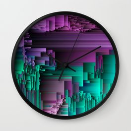 Right About Now - Abstract Glitch Pixel Art Wall Clock