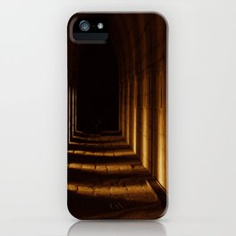 Tunnel in golden light iPhone Case