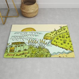 home is where you park it // wandering in new zealand // retro surf art by surfy birdy Rug