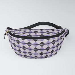 Purple and Black Diamonds and Stripes Fanny Pack