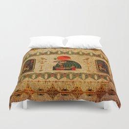 Egyptian Horus Ornament on Papyrus Duvet Cover