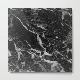 Back & Gray Marble texture Metal Print