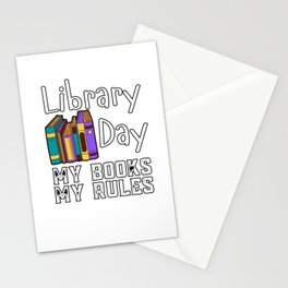 Library Day My Books My Rules Stationery Cards