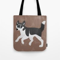 husky Tote Bags featuring Husky by Sarah