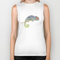 chameleon Biker Tanks featuring Chameleon by soycocon