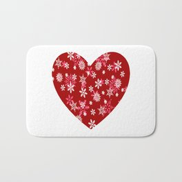 Red Heart Of Snowflakes Loving Winter and Snow Bath Mat