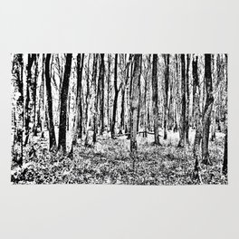 Fall in the Woods-b&w Rug