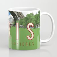 travel poster Mugs featuring Paris 2 Travel Poster by Michael Jon Watt