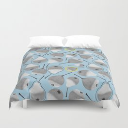 Monochrome pears on blue backdrop with yellow dots Duvet Cover
