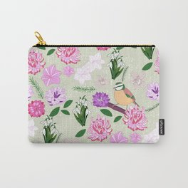 Joyful spring pink toned floral pattern with bird Carry-All Pouch