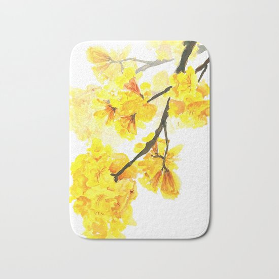 yellow trumpet trees watercolor yellow roble flowers yellow Tabebuia Bath Mat