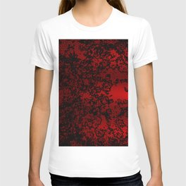 Red and black abstract decorative floral arabesque motif with metallic look T-shirt