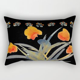 Atom Flowers #34 in orange and blue grey Rectangular Pillow