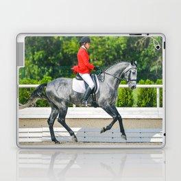 Beautiful girl riding a gray horse Laptop & iPad Skin