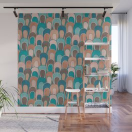 Burnt Sienna and Ocean Blue Abstract Loops Wall Mural