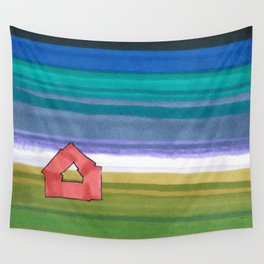 American Farm Landscape Blue Stripes 82 Wall Tapestry