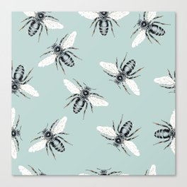 bees on blue Canvas Print