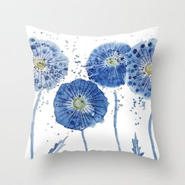 four blue dandelions watercolor Throw Pillow